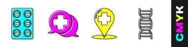 Set Pills in blister pack, Dialogue with the doctor, Map pointer with cross hospital and DNA symbol icon. Vector. icon
