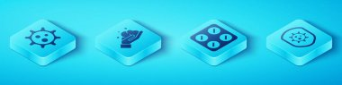 Set Isometric Virus, Washing hands with soap, Shield protecting from virus and Pills in blister pack icon. Vector. icon