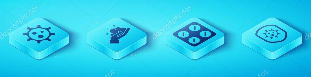 Set Isometric Virus  Washing hands with soap  Shield protecting from virus and Pills in blister pack icon icon
