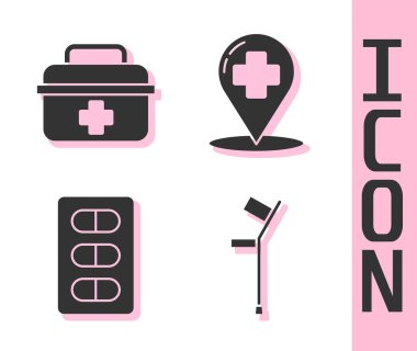 Set Crutch or crutches, First aid kit, Pills in blister pack and Map pointer with cross hospital icon. Vector. icon