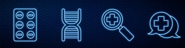 Set line Magnifying glass for search medical, Pills in blister pack, DNA symbol, Dialogue with the doctor and Medical clipboard with clinical record. Glowing neon icon on brick wall. Vector. icon