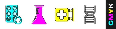 Set Pills in blister pack, Test tube and flask, Hospital signboard and DNA symbol icon. Vector. icon