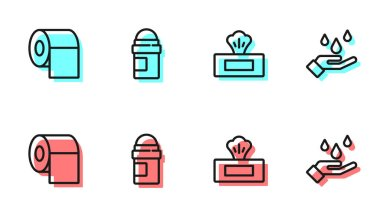 Set line Wet wipe pack, Toilet paper roll, Antiperspirant deodorant and Washing hands with soap icon. Vector. icon