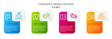 Set line Bottle of shampoo, Sponge, Bar soap and Wet wipe pack. Business infographic template. Vector. icon