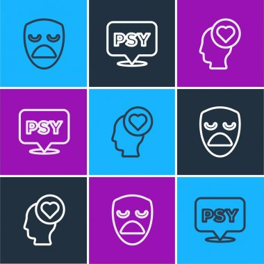 Set line Drama theatrical mask, Broken heart or divorce and Psychology, Psi icon. Vector. icon