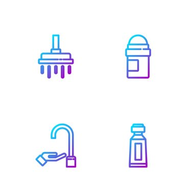 Set line Tube of toothpaste, Washing hands with soap, Shower head and Antiperspirant deodorant roll. Gradient color icons. Vector. icon