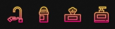 Set line Wet wipe pack, Washing hands with soap, Antiperspirant deodorant roll and Bottle of shampoo. Glowing neon icon. Vector. icon
