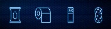 Set line Shaving gel foam, Wet wipe pack, Toilet paper roll and Sponge. Glowing neon icon on brick wall. Vector. icon