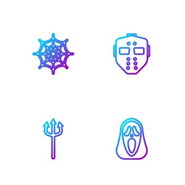 Set line Funny and scary ghost mask, Neptune Trident, Spider web and Hockey. Gradient color icons. Vector. icon