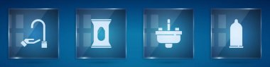 Set Washing hands with soap, Wet wipe pack, Washbasin water tap and Condom. Square glass panels. Vector. icon