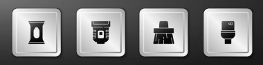 Set Wet wipe pack, Epilator, Handle broom and Toilet bowl icon. Silver square button. Vector. icon