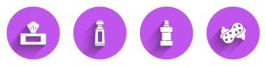 Set Wet wipe pack, Tube of toothpaste, Bottle for cleaning agent and Sponge icon with long shadow. Vector. icon