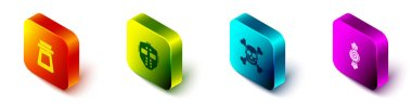 Set Isometric Bottle with potion, Hockey mask, Skull crossbones and Candy icon. Vector. icon