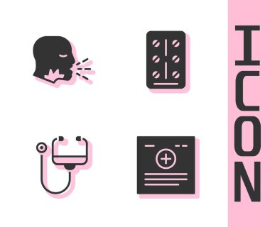 Set Clinical record, Man coughing, Stethoscope and Pills blister pack icon. Vector. icon