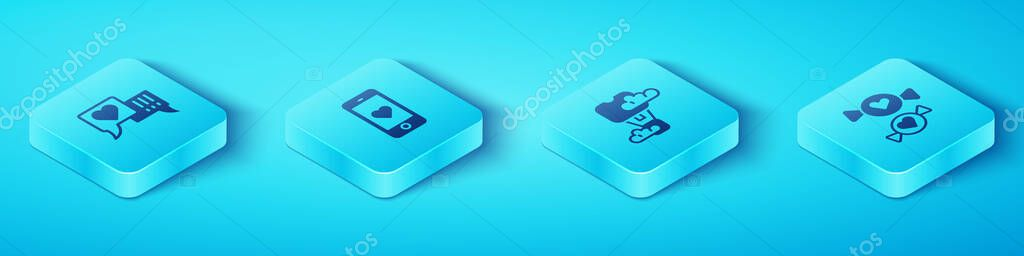 Set Isometric Heart in speech bubble, Mobile with heart, Candy and Romantic hot air balloon icon. Vector. icon
