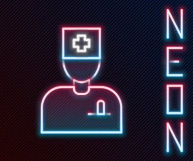 Glowing neon line Male doctor icon isolated on black background. Colorful outline concept. Vector. icon