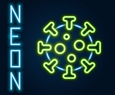 Glowing neon line Virus icon isolated on black background. Corona virus 2019-nCoV. Bacteria and germs, cell cancer, microbe, fungi. Colorful outline concept. Vector. icon