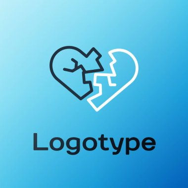 Line Broken heart or divorce icon isolated on blue background. Love symbol. Valentines day. Colorful outline concept. Vector. icon