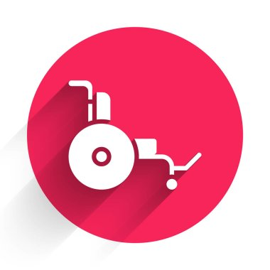 White Wheelchair for disabled person icon isolated with long shadow. Red circle button. Vector. icon