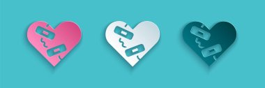 Paper cut Healed broken heart or divorce icon isolated on blue background. Shattered and patched heart. Love symbol. Valentines day. Paper art style. Vector. icon