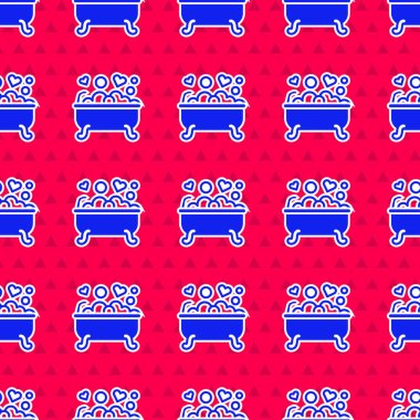 Blue Romantic in bathroom icon isolated seamless pattern on red background. Concept romantic date. Romantic Bathroom with heart favorite foam.  Vector. icon