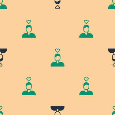 Green and black Romantic man icon isolated seamless pattern on beige background. Happy Valentines Day.  Vector. icon