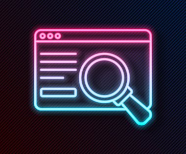 Glowing neon line UI or UX design icon isolated on black background.  Vector. icon