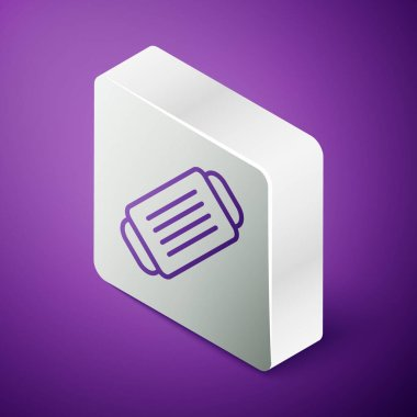 Isometric line Medical protective mask icon isolated on purple background. Silver square button. Vector. icon