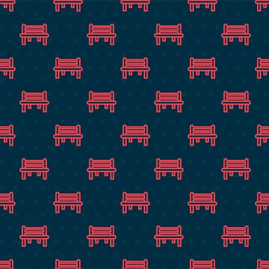 Red line Romantic bench icon isolated seamless pattern on black background.  Vector. icon