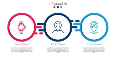 Set line Smartwatch, Location and Compass. Business infographic template. Vector. icon