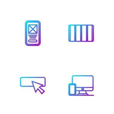 Set line Monitor and mobile, UI UX design,  and Color palette guide. Gradient color icons. Vector. icon