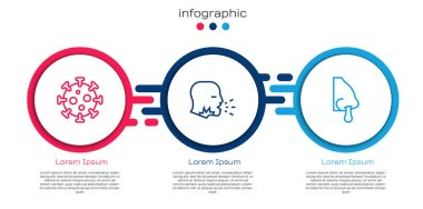 Set line Virus, Man coughing and Runny nose. Business infographic template. Vector. icon