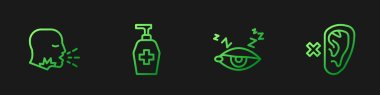 Set line Insomnia, Man coughing, Liquid antibacterial soap and Deaf. Gradient color icons. Vector. icon