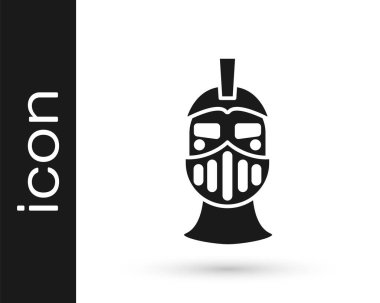 Black Medieval iron helmet for head protection icon isolated on white background.  Vector. icon
