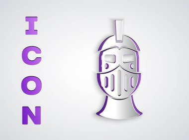 Paper cut Medieval iron helmet for head protection icon isolated on grey background. Paper art style. Vector. icon