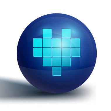 Blue Pixel hearts for game icon isolated on white background. Blue circle button. Vector. icon