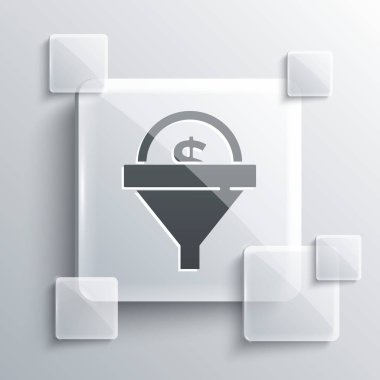 Grey Lead management icon isolated on grey background. Funnel with money. Target client business concept. Square glass panels. Vector. icon