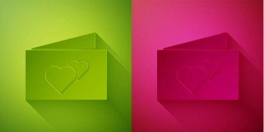 Paper cut Greeting card icon isolated on green and pink background. Celebration poster template for invitation or greeting card. Paper art style. Vector. icon