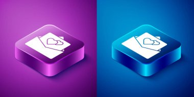 Isometric Greeting card icon isolated on blue and purple background. Celebration poster template for invitation or greeting card. Square button. Vector. icon