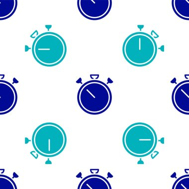 Blue Stopwatch icon isolated seamless pattern on white background. Time timer sign. Chronometer sign.  Vector. icon