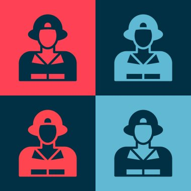 Pop art Firefighter icon isolated on color background.  Vector. icon