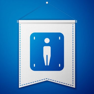 Blue Male toilet icon isolated on blue background. WC sign. Washroom. White pennant template. Vector. icon
