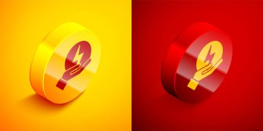 Isometric Lightning bolt icon isolated on orange and red background. Flash sign. Charge flash icon. Thunder bolt. Lighting strike. Circle button. Vector. icon