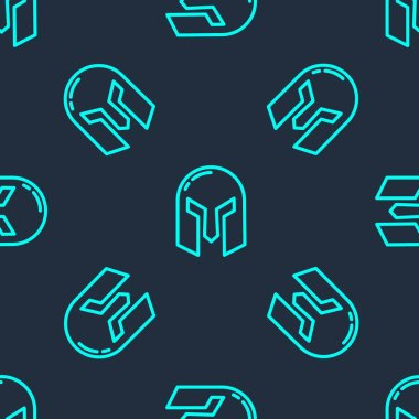 Green line Medieval iron helmet for head protection icon isolated seamless pattern on blue background.  Vector. icon