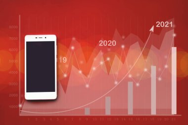 Mockup image of white mobile phone on red background virtual hologram of statistics, graph and chart with arrow up. The economy of trend background for business ideas and all the artwork design