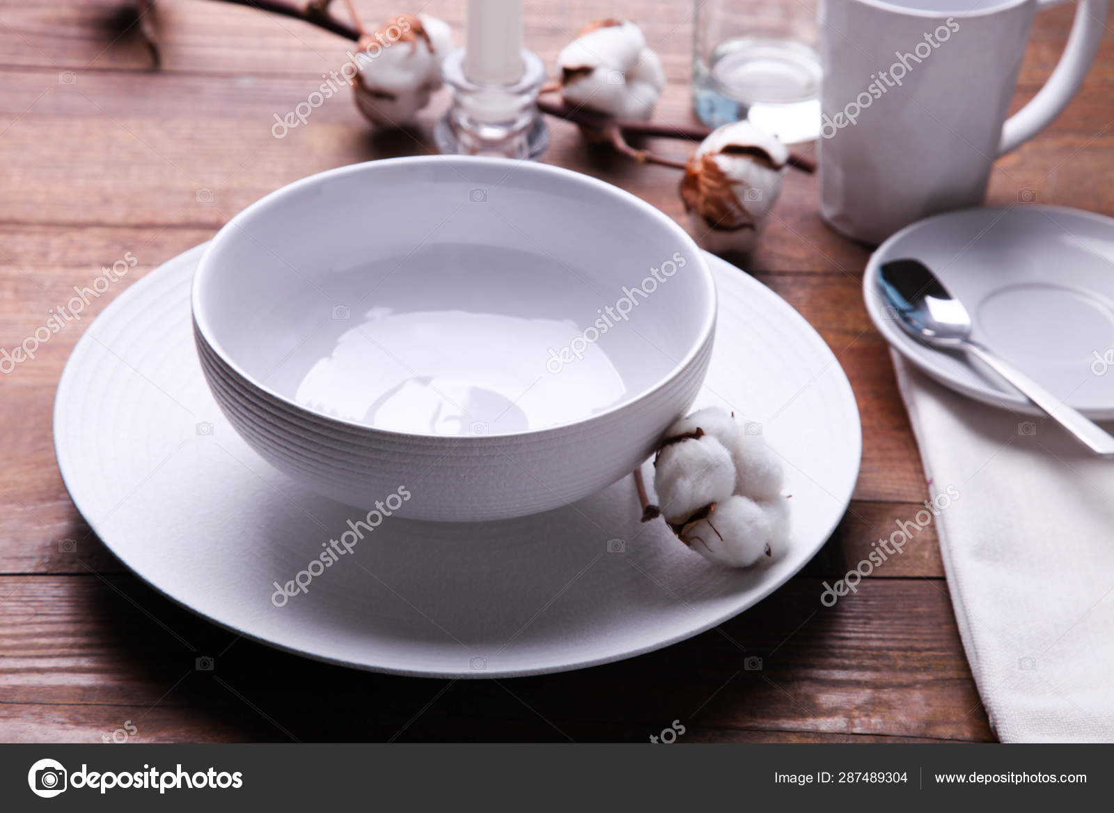 Clean White Dishes And Cutlery Romantic Dinner Stock Photo
