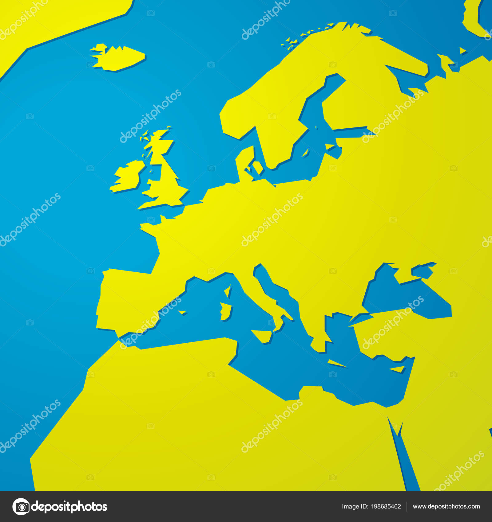 Simple Green Blank Map Europe — Stock Vector © mimacz #198685462