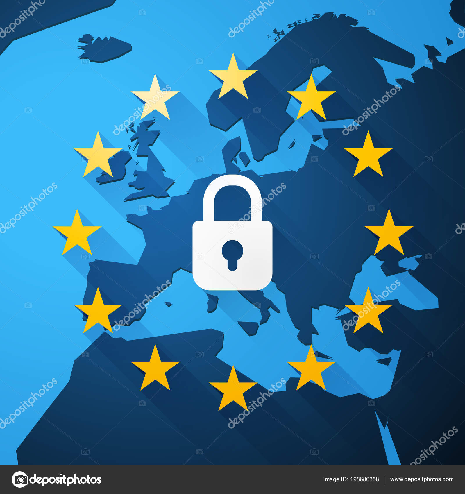 Gdpr General Data Protection Regulation Euro Map Vector U2014 Stock Vector