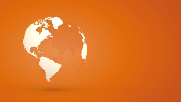 globe planet earth rotating on orange background