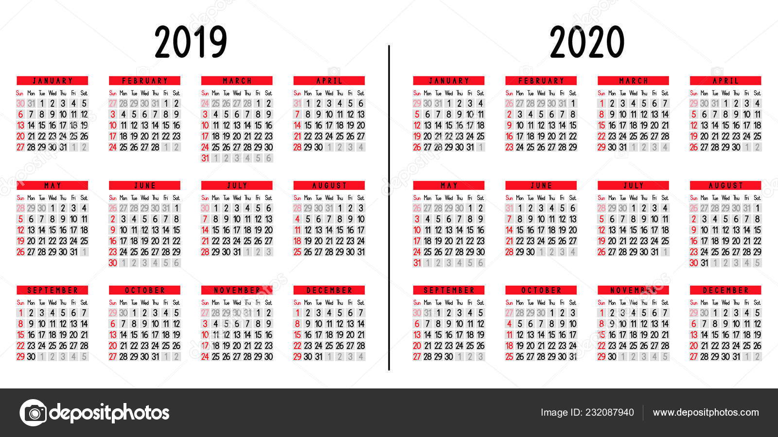 Calendario 2020 Y 2019.Calendario 2019 2020 Semana Comienza Domingo Ilustracion Vector